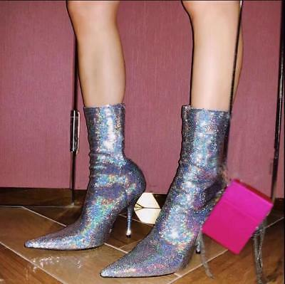 Sexy Womens Sequins Pointed Toe Mid Calf Boots Stilettos high Heel Shoes Pull On