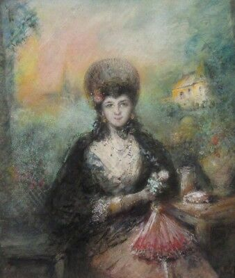 Antique French Pastel, Portrait of Woman with Fan, Garden, Spanish Style, Signed