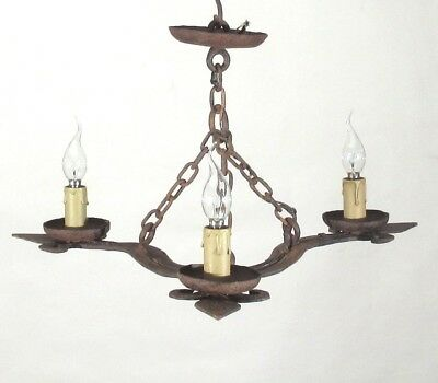 OldFrench Wrought Iron Chandelier, Three Lights