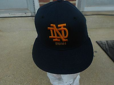 Vtg New Era Notre Dame Fighting Irish Fitted Hat Navy Gold Size 7  Cap Snapback