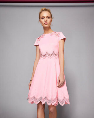 bfd5ac4d774caf NEW TED BAKER REHANNA Embroidered skater dress in Pink - Size 3 US 8 ...