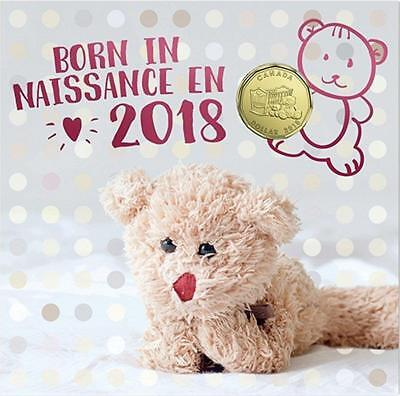 Born in 2018 Baby Gift Coin Set Canada Special Ed $1 Loonie Teddy Bear Cradle