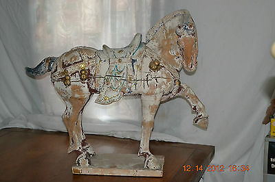 Vtg large Antique Distressed Wood Chinese Tang Dynasty Horse Statue
