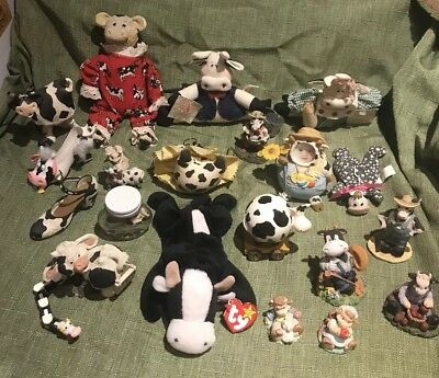 Huge Lot Of Cow Figurines/trinkets/plush Etc