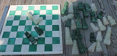Vtg 32 Pc Hand Carved Mexican Marble Chess Set with Board Pieces