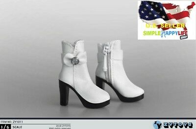1/6 scale women white short high-heels boots for Phicen Hot toys Poptoys ❶USA❶