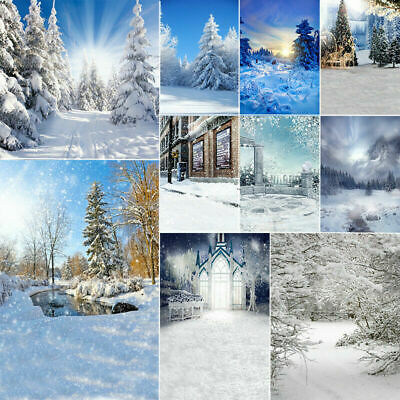Winter Snow Theme Photo Background Photography Backdrop Forest Snowman