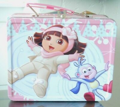New Dora The Explorer Cosmetic Set With Collectible Tin,nail Polishes, Glitter &