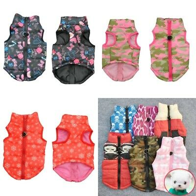Small Pet Dog Winter Warm Padded Vest Coat Puppy Cat Harness Jacket Apparel US