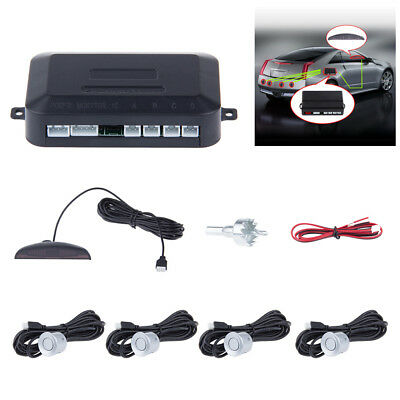 Reverse Car Parking Rear 4 Sensors Buzzer Radar Audio Alarm LED Display Silver