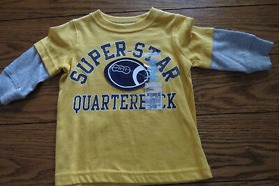 Boys LS Shirt Sz 6 mo Gold/Gray Football Theme 100% Cotton Carter's NWT