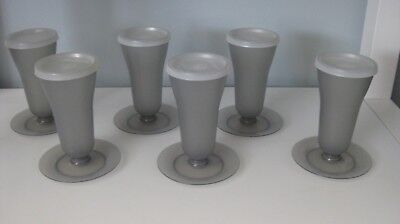 Vintage Tupperware set of 6 grey parfait flutes with lids