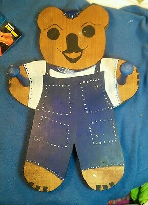 Vintage Hand Made/Painted Wooden Bear Coat Rack