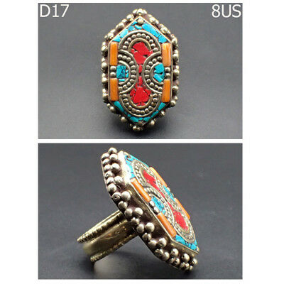 Old Wonderful Medieval Red Coral Turquoise Stone Bronze Ring Size 8 #D17