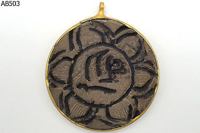 Rare Near Eastern Wild Ram Lotus Carved Stone Bead Gold Plated Pendant #503