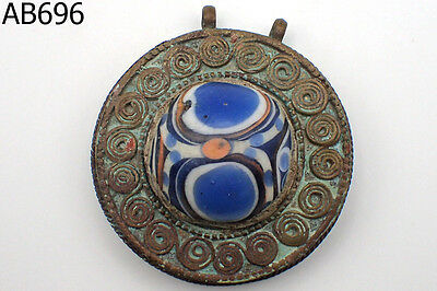 Very Old Excavated mosaic Eye Bead Glass Bronze Pendant #696
