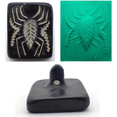 Rare Ancient Huge Bactrian Spider Intaglio Black Stone Stamp #939