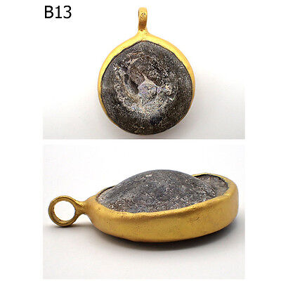Rare Ancient Patina Roman Glass Gold Cap Pendant #B13