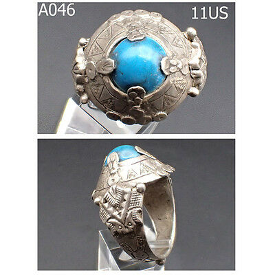 Medieval Old Blue Turquoise Stone Real Silver Ornate Ring 11US #A46