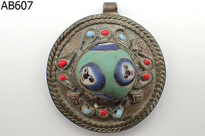 Unique Green Mosaic glass 4 Faces Bead Old Silver Mix Pendant #607