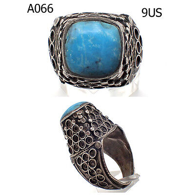 Amazing Old Turkish Blue Turquoise Stone REAL Silver Ring Us Size 9#A66