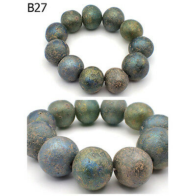 Excavated Near Eastern Blue Green Roman Glass Patina Sphere Bracelet #B27