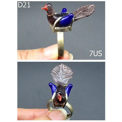 Rare Post Medieval Handblown Glass Islamic Swan Bird Ring Us Size 7 #D21