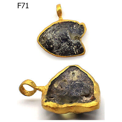 Rare Ancient Roman Patina Glass Fish Gold Plated Pendant #F71