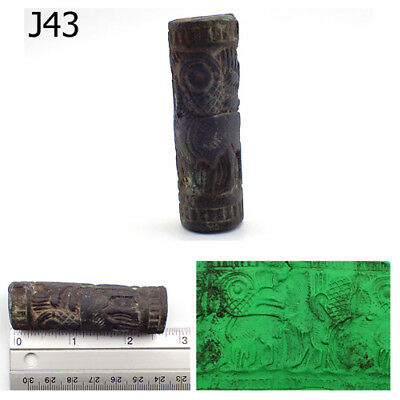 2.7 Ancient Near Eastern intaglio Black Stone Rolling Bead #J43