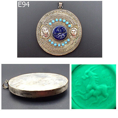 2 Lady Faces Islamic Afghan Old Deer Intaglio Lapis Real Silver Pendant #E94