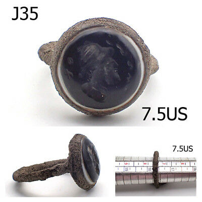 Medieval Very Old Goat EYE Agate Emperor Face intaglio Bronze Stamp Ring #J35