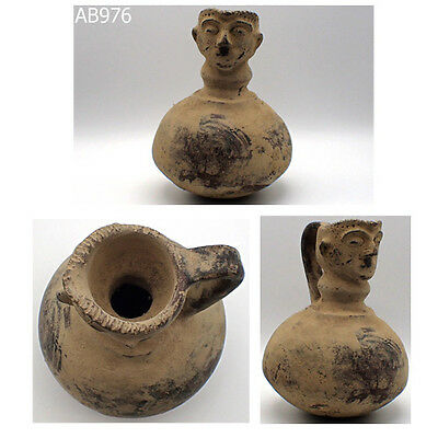 Rare Ancient Excellent Indus Valley Terracotta Goddess Face Bottle Jug #976