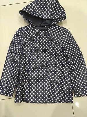 Cryllius Girls double breasted Rain Coat Navy white polka dot age 6