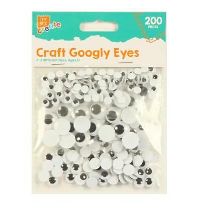 Pack of 200 Self Adhesive Craft Googly Eyes Wobbly Large Medium Small Art Kids