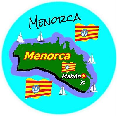 Menorca - Round Souvenir Novelty Fridge Magnet - Sights / New / Flags / Gifts