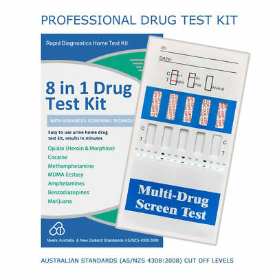 8 in 1 Drug Test Kit Opiates Cocaine MDMA Mathadone Benzos & More Free Delivery