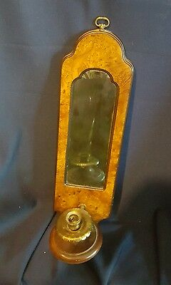 Vintage Knob Creek Brass & Walnut Wood Wall Candle Holder Sconce & Mirror 20""
