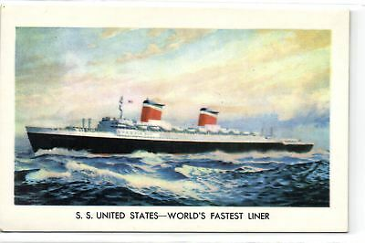 1 Postcard Transport Ships SS United States - World's fastest liner pcthboat19
