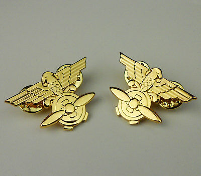 Wwii Chinese Air Force Flying Tigers Officer Collar Pins Badge