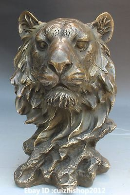 "10"" Chinese Folk Home Decoration Bronze Foo Fu Dog Lion Leopard Head Statue"