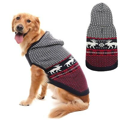 Dog Christmas Sweater Large Winter Knitwear Pet Hoodie Xmas Clothes Warm Coat