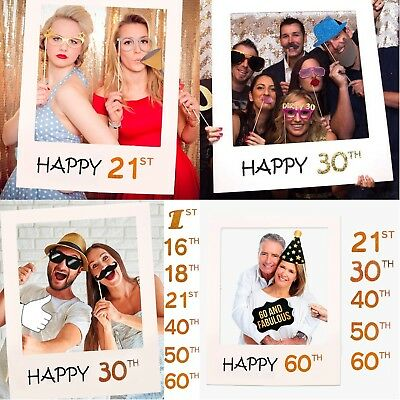 16/18/30/40/50/60/70th 21st Frame Photo Booth Props Happy Birthday Paper Party