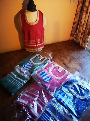 58 Camargue 1980s Old stock acrylic children's tank top jumpers various sizes