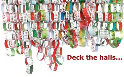 100 CHRISTMAS PAPER CHAINS Xmas Chain Festive Decorations Art /& Craft NEW