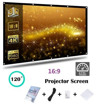 """120"""" 16:9 Pull Down Portable Projector Projection Screen Home Theater Cinema US"""