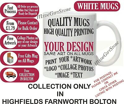 Personalised Mug Print Logo Photo Picture Text Bulk Promotional -Collection ONLY