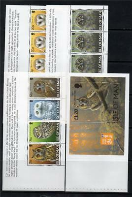 Isle Of Man Mnh 1997 Sg734-739 & Ms740 Owls Booklet Panes X 4