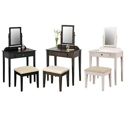 Cool Makeup Vanity Table Set Tilt Mirror Dresser Stool Bench Gmtry Best Dining Table And Chair Ideas Images Gmtryco