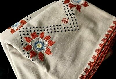 """Folk Style Cross Stitch Hand Embroidery Embroidery Linen Tablecloth 61"""" x 45"""""""
