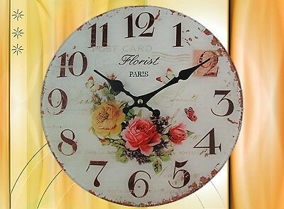 Wall Clock Florist Paris Orange Glass Batt D.30cm Aesthetics Rarity Vintage Gift